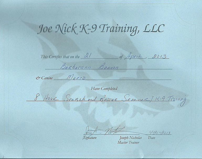certifications-joe-nick-canine training llc marco