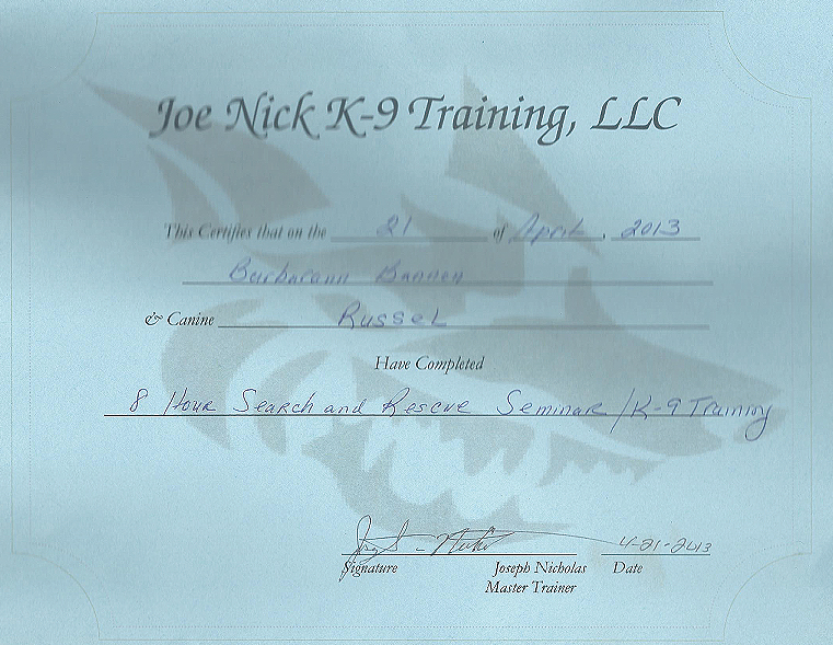 certifications joe nick canine trailing llc russell
