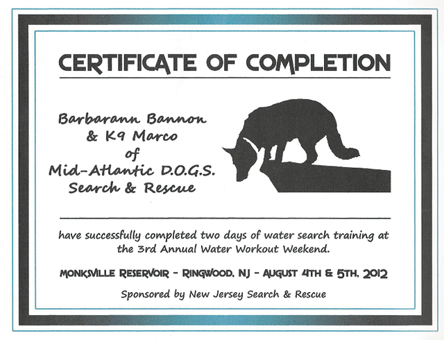 certifications-water-search training