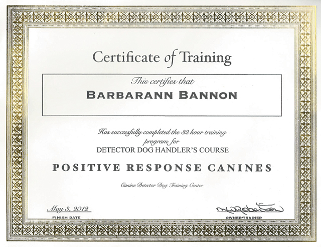 certifications positive-response-cannines